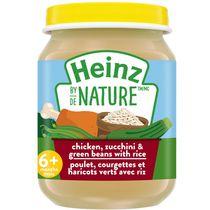 Aliments pour bébés Heinz de Nature – Poulet, courgettes et haricots verts avec riz en purée