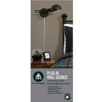 hometrends 1 Light Plug-In Pharmacy Wall Sconce with Dark Bronze Shade