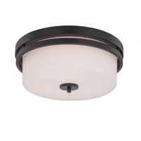 Focus 3-Light Aged Bronze Round Flush Mount