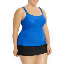 Krista Women's Tankini Swim Top Blue 2X