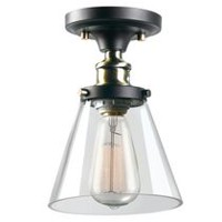 Globe Electric Jackson 1-Light Antique Brass & Brown Flush Mount