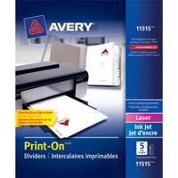 Print-On Dividers, 5 Tab, 5 Sets