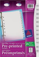 "Mini Pre-printed Dividers 11314, 5-1/2"" x 8-1/2"", Jan.-Dec.,12-Tab Set"