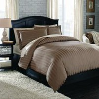 hometrends T350 Damask Stripe Duvet Cover Set King