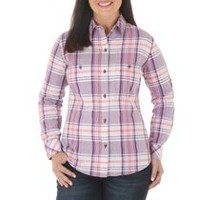 Riders by Lee Women's Long Sleeve Convertible Plaid Woven Shirt S