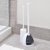 Mainstays Una Slim Bowl Brush & Plunger, White