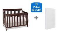 Concord Baby Sara 4 in 1 Convertible Crib Java + Bonus Twinkle Twinkle Crib Mattress