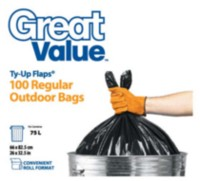 Great Value Ty-Up Flaps Regular Outdoor Garbage Bags