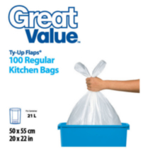 Great Value Noeuds Ty-Up Sacs à ordures ordinaires pour la cuisine