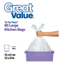 Great Value Ty-Up Flaps Large Kitchen Garbage Bags