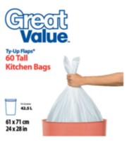 Great Value Ty-Up Flaps Tall Kitchen Garbage Bags