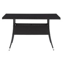 CorLiving Parksville Resin Wicker Rectangle Patio Dining Table - Black