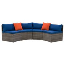 CorLiving Parksville 2-Piece Resin Wicker Patio Sectional Bench Set - Blended Grey Finish/Oxford Blue Cushions