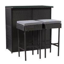 CorLiving Parksville Resin Wicker Patio Bar Set - Black Finish/Ash Grey Cushions