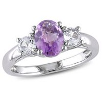 Tangelo 1.80 Carat T.G.W. Amethyst and Created White Sapphire Sterling Silver Three-Stone Ring 5