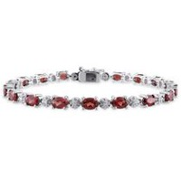 Tangelo 9.88 Carat T.G.W. Garnet and Diamond-Accent Sterling Silver Tennis Bracelet, 7""