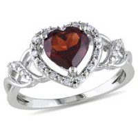 Tangelo 1.38 Carat T.G.W. Garnet and Diamond-Accent Sterling Silver Heart Ring 8