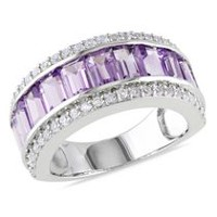 Tangelo 3.33 Carat T.G.W. Amethyst and Created White Sapphire Sterling Silver Semi-Eternity Anniversary Ring 5