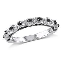 0.13 Carat T.W. Black Diamond 10 K White Gold Semi-Eternity Ring 8