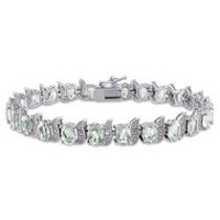 Tangelo 10.10 Carat T.G.W. Green Amethyst and Diamond-Accent Sterling Silver Tennis Bracelet, 7""