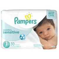 Couches Pampers Swaddlers Sensitive, format Jumbo Taille 1