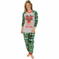 George Ladies' Holiday Twosie PJ Set Grey L