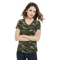 T-shirt de base imprimé avec encolure en V George pour femmes
