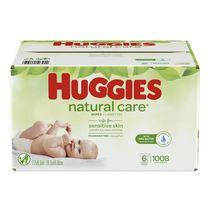 Lingettes pour bébés HUGGIES Natural Care, recharge (emballage de 6, total de 1008 feuilles), sans parfum, sans alcool, hypoallergéniques