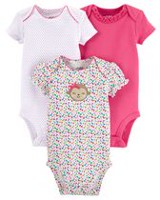 Child of mine made by Carter's Girls' Monkey Bodysuits, Pack of 3 NB