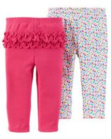 Child of Mine Made by Carter's Girls' Monkey Pants, Pack of 2 0-3