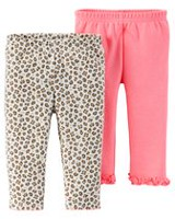 Child of Mine Made by Carter's Girls' Kitty Pants, Pack of 2 NB