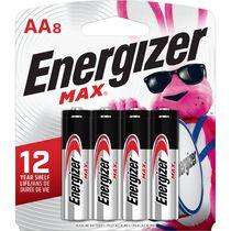 Piles alcalines AA Energizer MAX, paquet de 8