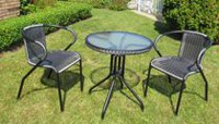 Henryka 3-Piece Bistro Set with PVC Wicker - Grey