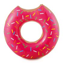 RhinoMaster Play Strawberry Doughnut Inflatable Pool Tube - Novelty Floating Food Swim Ring