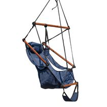 Island Retreat Hanging Hammock Swing Chair for Yard, Patio with Pillow And Footrest - Midnight Blue