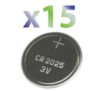 Exian Button Cell Lithium Battery 3V #CR2025 - Pack of 15