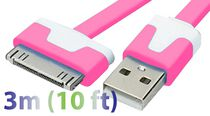 Exian 3 m 30 Pin to Flat USB Cable Pink