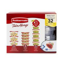Rubbermaid TakeAlongs Food Storage Containers, Racer Red, 32-Piece Set