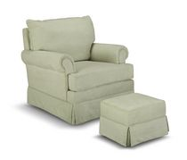 Thomasville Kids Grand Royale Upholstered Swivel Glider and Ottoman Sage