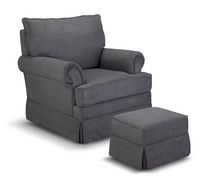 Thomasville Kids Grand Royale Upholstered Swivel Glider and Ottoman Gray