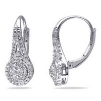 Miabella 0.25 Carat T.W. Diamond Sterling Silver Double Halo Earrings