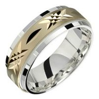 STERLING SILVER AND 10KT GOLD WEDDING BAND 10