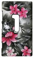 Exian Case for Lumia 920, Floral Pattern - Black & Pink