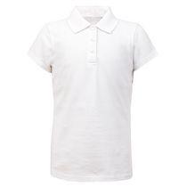 George School Uniform - Girl's Cap-Sleeve Polo Top White L/G
