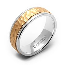 Rex Rings 10KT Yellow Gold Wedding Ring with Hammered Center on Sterling Silver Base 10.5