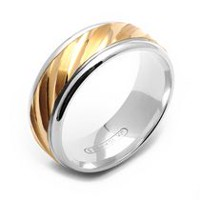 Rex Rings 10KT Polished Yellow Gold Center on Sterling Silver Base Ring 10.5