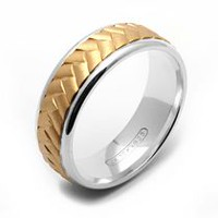 Rex Rings 10KT Yellow Gold Ring with Chevron Design on Sterling Silver Base 12