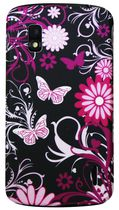 Exian Case For LG Nexus  4, Floral Pattern - Black & Pink