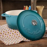 THE PIONEER WOMAN TIMELESS BEAUTY RED 5-QUART DUTCH OVEN WITH DAISY AND BAKELITE KNOB Teal