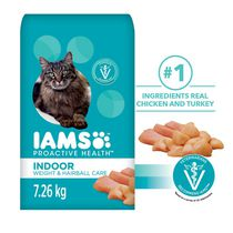 IAMS ProActive Health Adult Indoor Weight & Hairball Care with Chicken Cat Premium Cat Nutrition 7.26KG
